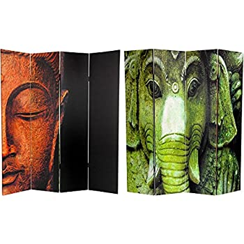 Charming Oriental Furniture 6 Ft. Tall Double Sided Buddha And Ganesh Canvas Room  Divider