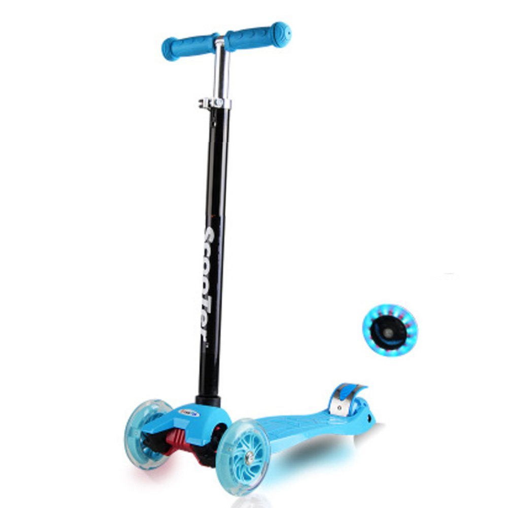Nclon Children Scooter 3 Wheels, Stunt Bright Flash led wheels Scooters Boys girls scooter From 2-5 Years Load capacity up to 50kg-Blue