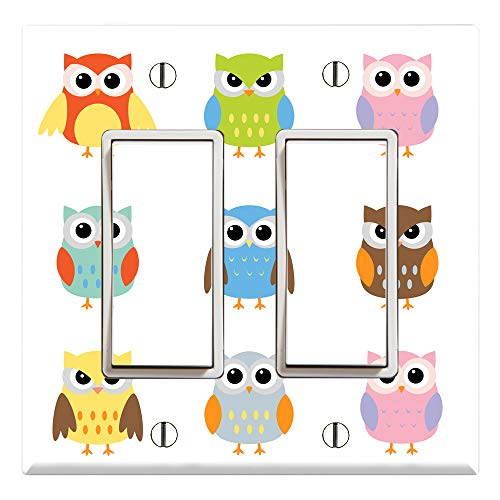 (Graphics Wallplates - Cute Owl - Dual Rocker/GFCI Outlet Wall Plate Cover)
