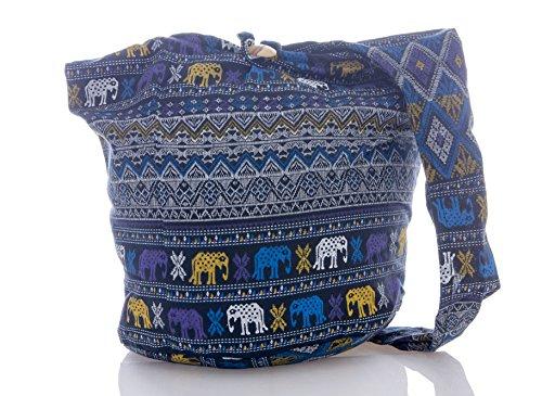 Purple Sling Geometry Crossbody Messenger Purse Avarada Elephant Hippie Thai Bohemian Cotton Black Bag Hobo awWqOFfU
