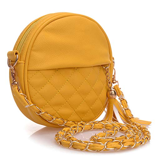 hombro cadenas de bolso Rojo de de de bolso bolsitas JINM de bolsitas para mujer de mini cuero borla mano bolso bolso redondas mujer paso piel de Bolso bolso l Amarillo Tamaño hombro bandolera de BWU6UAqpwx