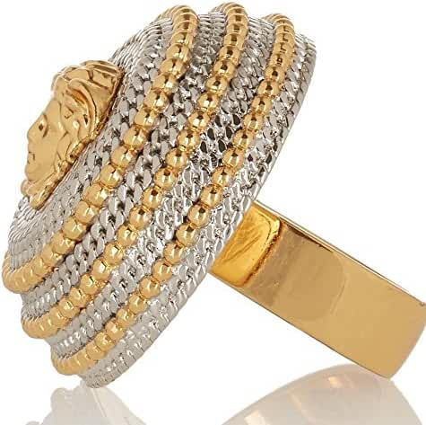Versace Womens Two Tone Rope Border Medusa Head Ring