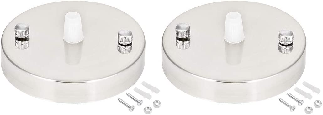 uxcell Retro Light Canopy Kit with Clear Cord Grip, Vintage Chandelier Ceiling Plate Base, 100mm 3.9Inch Nickel 2Pcs