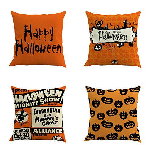 Ussuperstar Set of 4 Happy Halloween Yellow and Black Throw Pillow Covers Boho Hippy Elephant Tree of Life Cushion Cover Throw Floral Fall Pillow Case 18 X 18 Inch Pillowcase Multicolor (HA02) -