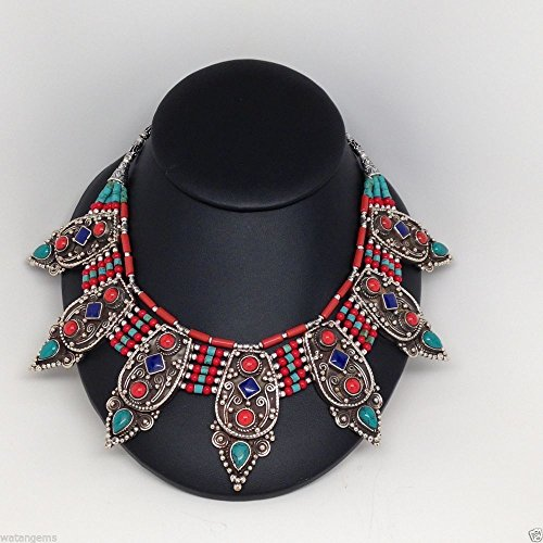 (Ethnic Nepalese Coral Lapis Turquoise Necklace German Silver Handmade From Nepal)