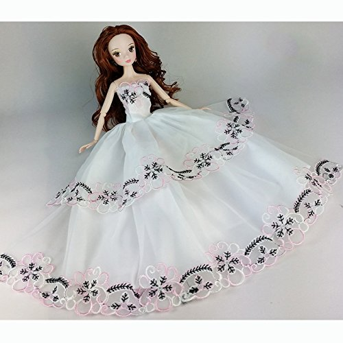 {Factory Direct Sale} White Handmade Fashion Wedding Gown Dresses Clothes Outfit Girl Party For Princess Barbie Doll