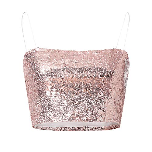Mlide Women's Bodycon Crop Tops Sexy Strap Elastic Wild Style Off Shoulder Sequins Strapless Tank Vests,Pink M by Mlide Womens Vest (Image #4)