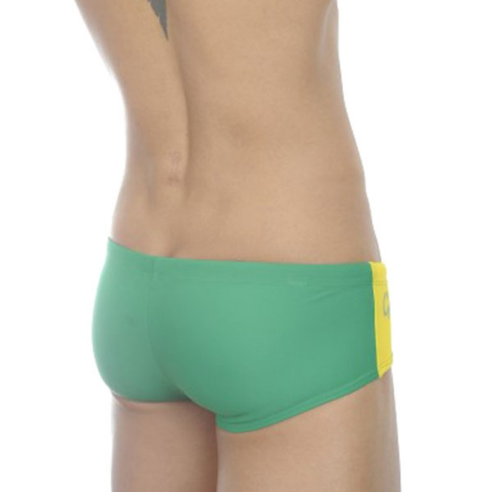 e5fa1d45cc Zehui Mens Swimming Trunks Brief Tie Rope Style Swimsuit Sexy Bathing Pants  Green Waist: 33