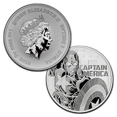 Ego Bearings - 2019 1 oz .9999 Silver Marvel Captain America Tuvalu $1 Brilliant Uncirculated