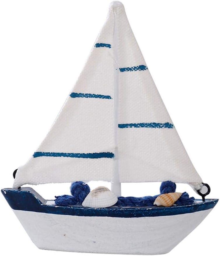 Aovie Miniature Statues Mini Sailboat Craft Dollhouse Decor Garden Fairy Ornament Decoration for Tabletop Ornament, Photo Props, Beach Ocean Theme Party and Room Decoration