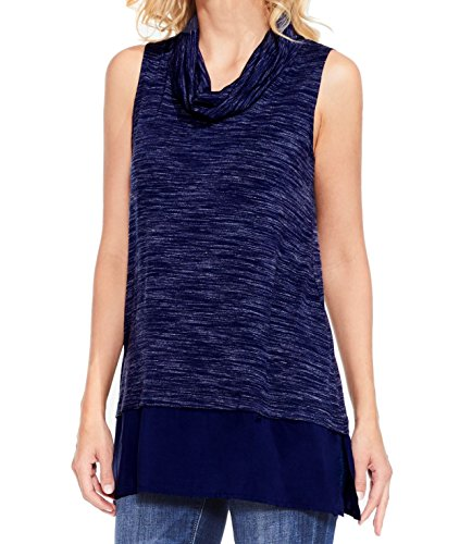 Women's Sleeveless Space Dye Cowl Neck Mix Media Top Black Iris Tank Top (Vince Cowl Neck)