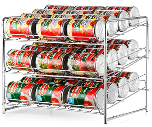Bextsware 3 Tier Can Rack, Stackable and Adjustable Multi-Function Cabinet Basket Organizer,Chrome