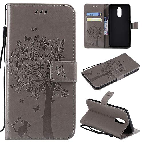 LG Stylo 4 Case,LG Stylo 4 Plus Case,LG Q Stylus PU Leather Wallet Embossed Floral Tree Cat Case with Kickstand Flip Cover Card Holder for LG Stylo 4,LG Stylo 4 Plus,LG Q Stylus Gray