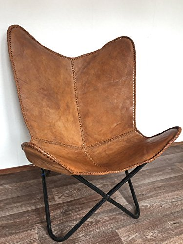 BROWN LEATHER ARM CHAIR BUTTERFLY LEATHER BUTTERFLY CHAIR HOME DECOR