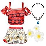 #8: COGGIFEL Baby Girls Princess Moana Swimsuit Two Piece Off Shoulder Bikini Set with Necklace Flower Adventure Outfit Swimwear