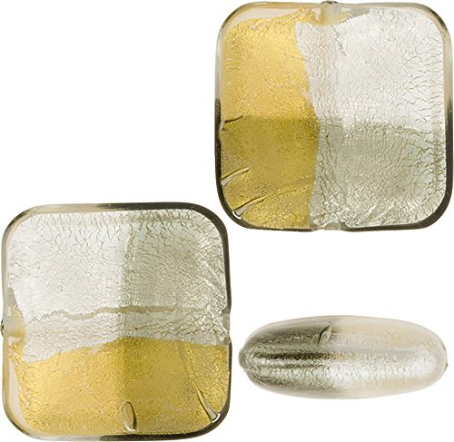 Glass Beads Square Silver Foil - 6