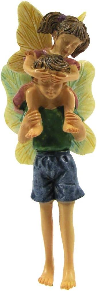 TG,LLC Treasure Gurus Mini Fairy Girl Boy Siblings Kids Piggyback Ride Figurine Garden Accessory Dollhouse Decor Ornament