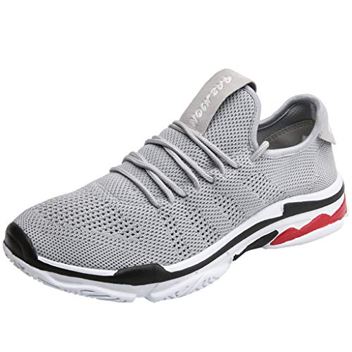 JESPER Mens Womens Casual Mesh Breathable Cozy Running Shoes Durable Running Outdoor Sport Sneaker Grey