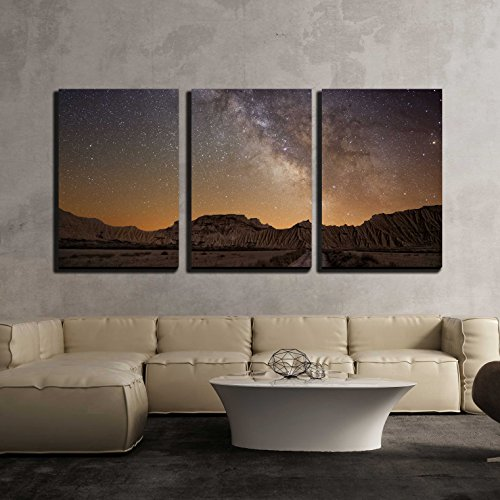 wall26 - 3 Piece Canvas Wall Art - Milky Way over the Desert of Bardenas, Spain - Modern Home Decor Stretched and Framed Ready to Hang - 24''x36''x3 Panels by wall26