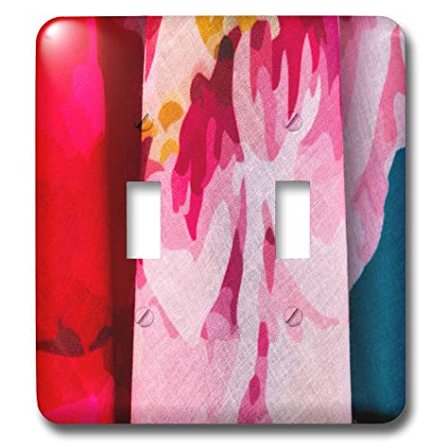 3dRose Alexis Photography - Texture Textile - Image of colorful pink, red, blue textile cloths. Decorative backdrop - Light Switch Covers - double toggle switch (lsp_287122_2) (Image Red Photography)