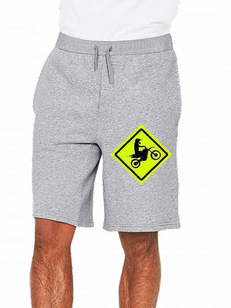 JiJingHeWang Motocross Roadsign Mens Casual Shorts Pants