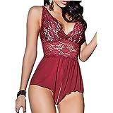 ALLureLove Sexy Lingerie Open Crotch Leotard Teddy Nightwear Lace Miniskirt Babydoll (Large, Red)