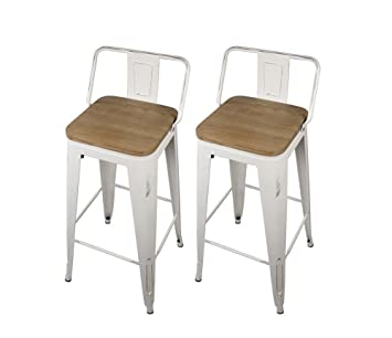 GIA Low Back Metal Barstool with Wooden Seat 30u0026quot; Bar Height(Set of 2  sc 1 st  Amazon.com & Amazon.com: GIA Low Back Metal Barstool with Wooden Seat 30