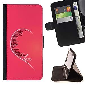 BullDog Case - FOR/Apple Iphone 5C / - / love ear pink heart quote true unconditional /- Monedero de cuero de la PU Llevar cubierta de la caja con el ID Credit Card Slots Flip funda de cuer