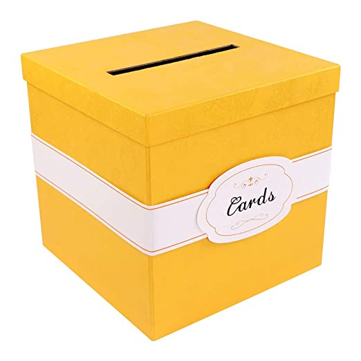 Aparty4u Caja de Tarjetas de Boda de Oro con Etiqueta de ...