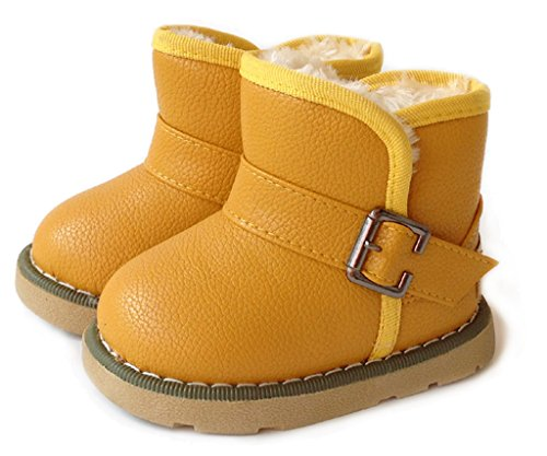 IOO Toddler Girls Boys Waterproof Snow Boots Baby Kids Warm Winter Fur Shoes Yellow 22 (Cheap Cowgirl Boots Under 20)