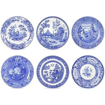 Spode Blue Room Georgian Plates, Set of 6 Assorted Motifs
