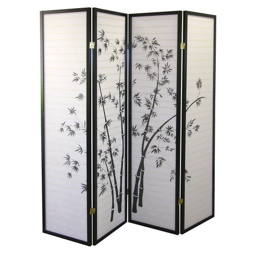 ORE International Black 4 Panel Bamboo Screen Room Divider - Style Room Divider
