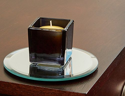 5 Inch Round Mirror Candle Plate with Bevelled Edge set of 12 (Candle Holders Plate)