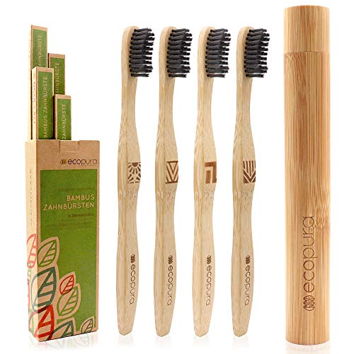 ecopura® Bambus Zahnbürsten, 4er Set Holzzahnbürste mit Etui, Nachhaltig, Vegan, BPA frei, Zahnbürste aus Holz mit…