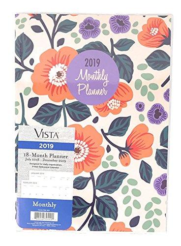 (Leap Year Vista Vinyl Covered 2019 Monthly Desk Calendar Planner, 7.5-inch X 10.5-inch (Orange Flowers))