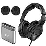 Sennheiser HD 280 Pro Plus Circumaural Closed-Back Monitor Headphones with FiiO A1 Portable Headphone Amp and extra pair soft leatherette replacement ear cushions