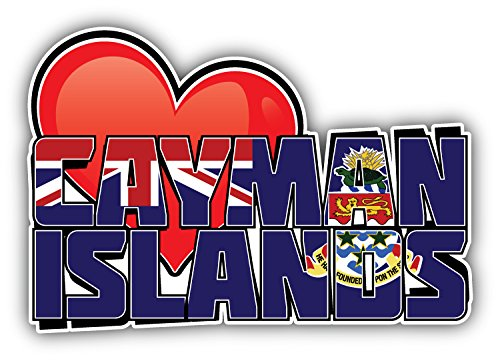 (Cayman Islands Art Heart Flag Travel Slogan Car Bumper Sticker Decal 5'' X 3'' )