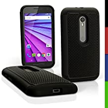 iGadgitz Black and Black Hard PC Back Shell Cover & Silicone Bumper Case for Motorola Moto G 3rd Generation 2015 XT1540 (G3) + Screen Protector