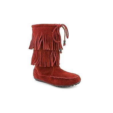 Amazon.com | Minnetonka Women's Dallas Tribal Fringe Boots in Wine ...