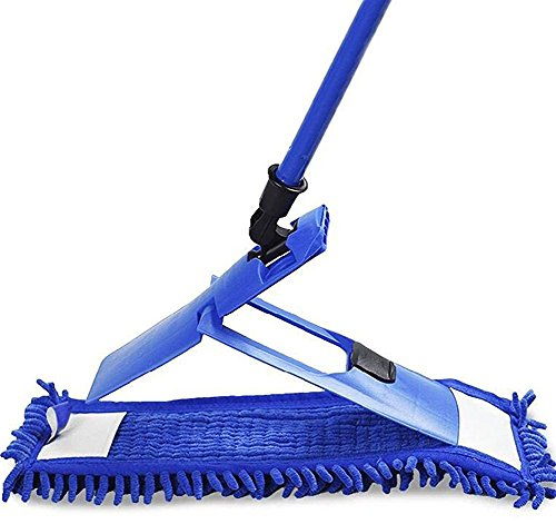 Cleankly 360 Degree Professional Microfiber Flat Mop 18'' Stainless Steel Extendable Handle Wet or Dry Mop For Home Kitchen Hardwood Laminate Floors Cleaning by Cleankly (Image #1)
