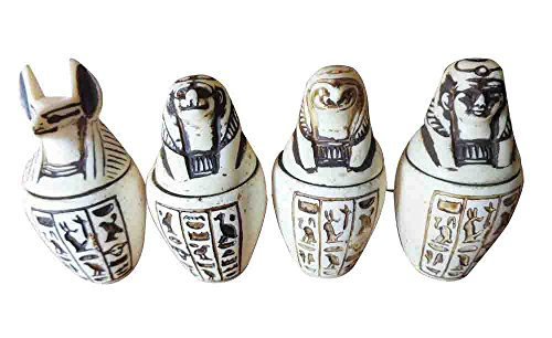 bonballoon Set of 4 Egyptian Ancient Canopic Jars Organs Storage Statue Statues Pharaoh Collection Collectable Mythology Decor Souvenir Handmade Antique Hieroglyphics Decoration 201