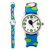 TOPCHANCES Little Girls Watch, Waterproof Environmentally Friendly Materials Kid's 3D Protecter Skin's Cute Quartz Watch for Boy Girls(3D Tennis Blue)