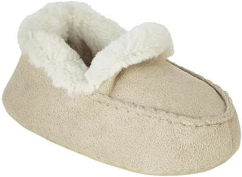 WonderKids Infant Boys Tan Faux Suede Moccasin Slippers House Shoes