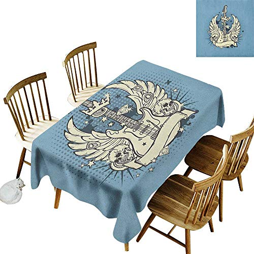 Camping Outdoor Tablecloth W60 x L84 Guitar Rock n Roll Composition Crown Wings Skulls Stars on Retro Grunge Backdrop Pale Blue Ivory Black Clearable