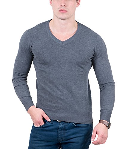 - RC Cashmere Blend Anthracite V-Neck Fine Wool Blend Mens Sweater for Mens