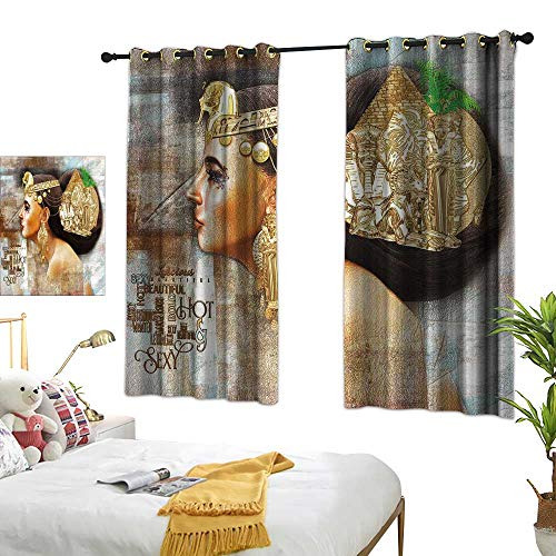 Lightly lace Curtains Egyptian,Woman Queen Cleopatra Profile Historical Art Scene with Ancient Pyramid Sphinx,Golden Brown 54