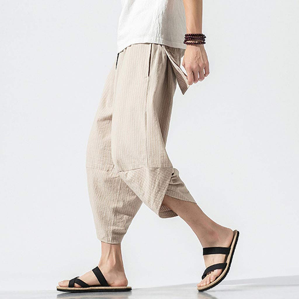 Dazlinea Mens Summer Casual Harem Pants Jogger Shorts Fitness Trousers Linen Loose Pants Athletic Pants