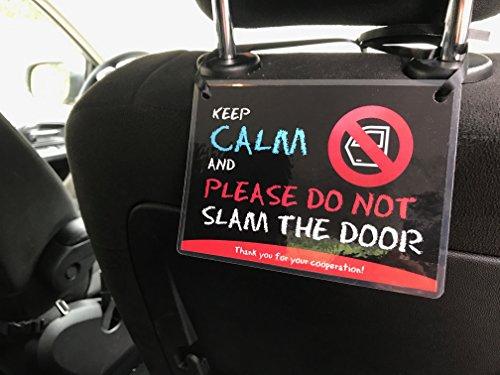 (Set of 2) Uber Lyft Headrest Do Not Slam The Door Decal Sign Rideshare Car Display Cards