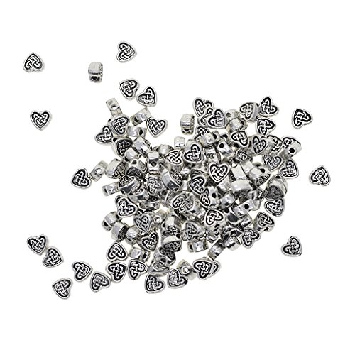 Baoblaze 100 Pieces Tibetan Silver Alloy Heart Shape Spacer Bead for Jewelry Making Beading Crafts DIY Necklace Bracelet Earrings ()