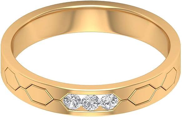 anillo de boda de oro amarillo con 3 diamantes
